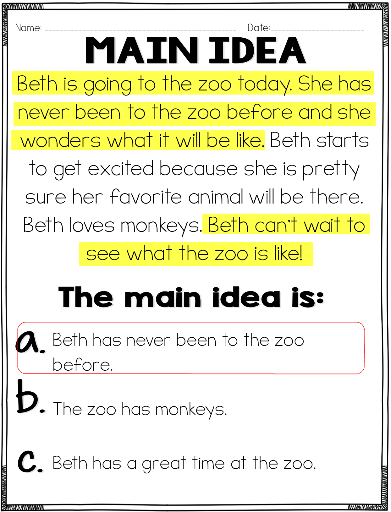 Main Idea And Details Practice Common Core