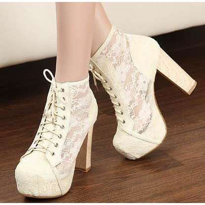 Sheer Lace Lacing Up Apricot Pumps Boots=hot damn must have