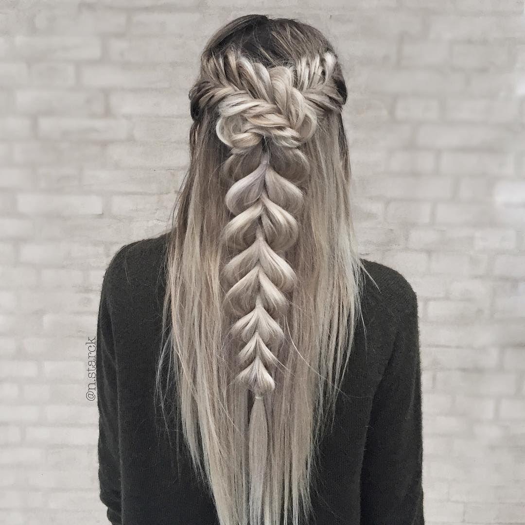Nina starck hairstyles narck on instagram uchalf up fishtail
