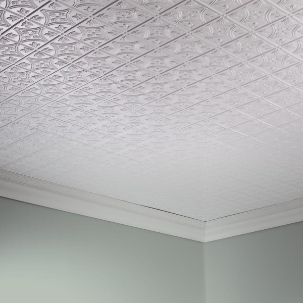 Fasade Ceiling Tile 2x4 Direct Apply Traditional 1 In Matte White In 2020 Ceiling Tile Basement Remodel Ceiling Ceiling Tiles