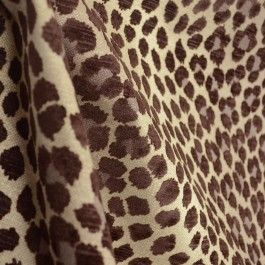 Panther Linen Brown Taupe Animal Chenille Leopard Upholstery Fabric ...