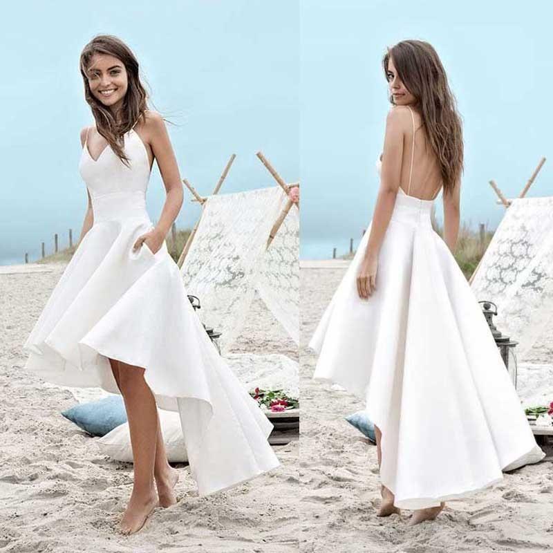 Simple Wedding Dresses Hawaii: Simple Spaghetti V-neck Hi-low Off White Satin Wedding