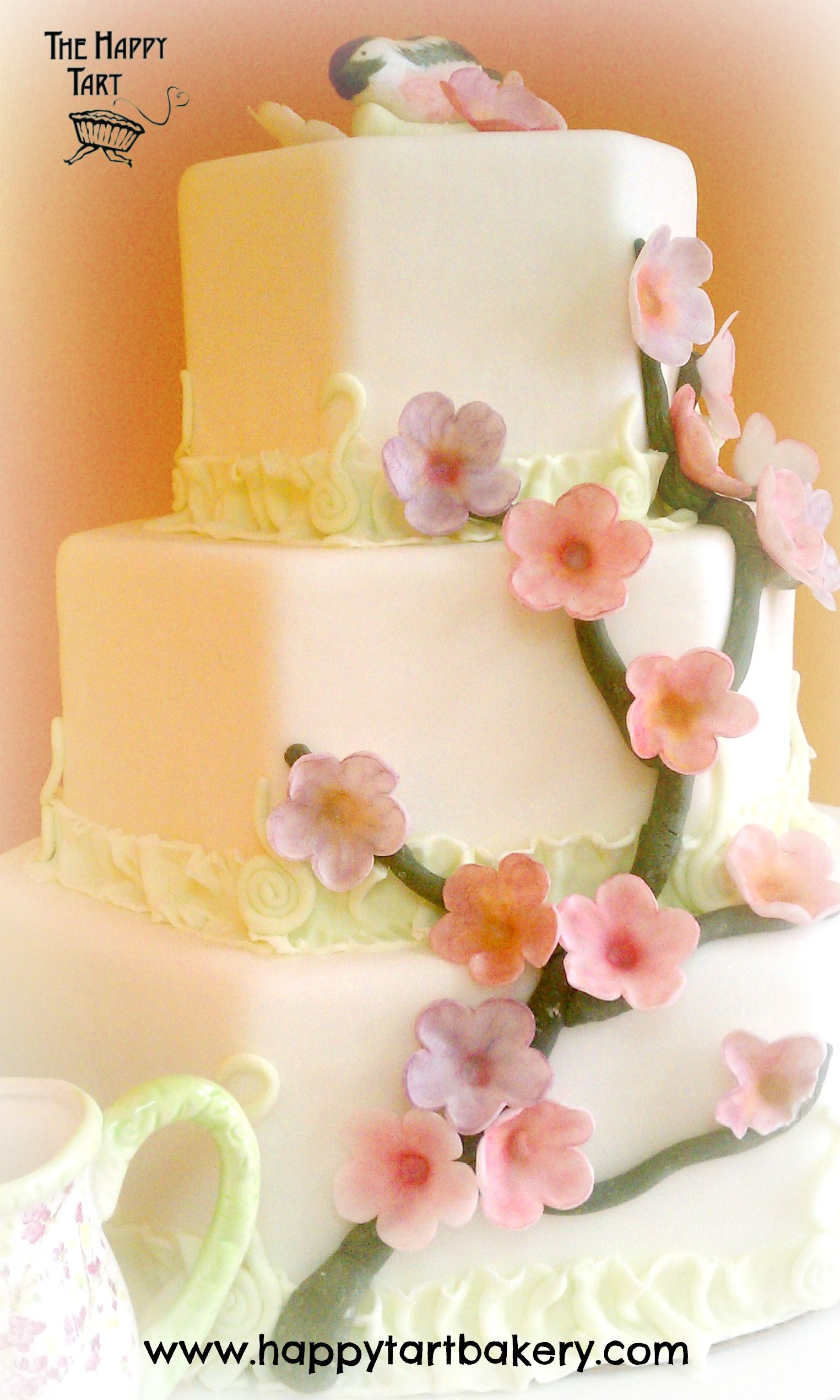 Octagonal Gluten Free Wedding Cake with Lime Ruffles and Cherry ...