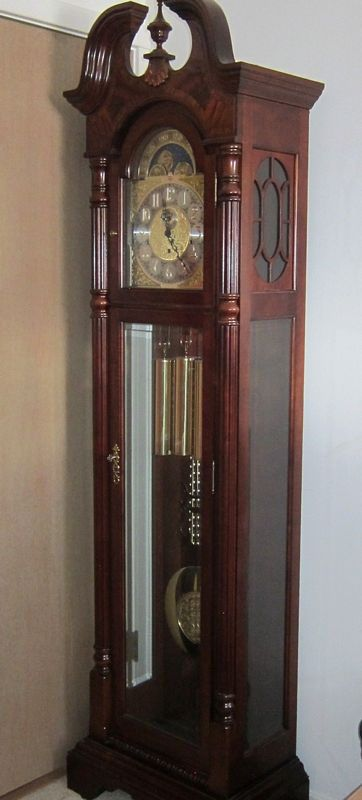 Beautiful Sligh Grandfather Clock Purchased From Thomaston Marked Holland Michigan Intricate Wood Parquetry