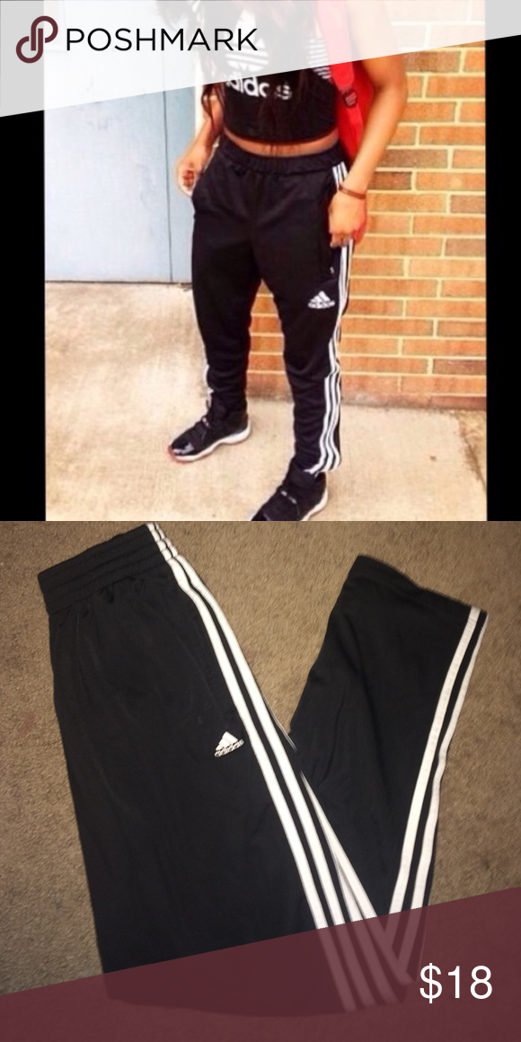 Adidas Black White Striped Track Athletic Pants M