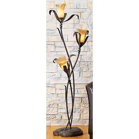Franklin Iron Works Intertwined Lilies Floor Lamp Floor Lamp