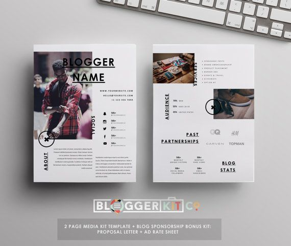 4-PG Media Kit Template Press Kit Template by BloggerKitCo - rate sheet template