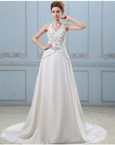 A-line V Neck Embroidery Chiffon Satin Semi Cathedral Wedding Dress ...