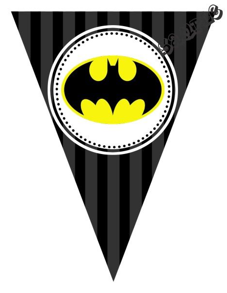 """DIY Batman Birthday Party Pendant Banner. Design Online Download & Print Immediately. Any Color Scheme. Pendant Banners each panel measures: 8.5"""" x 11"""" (19.75 CM x 25.85 CM) Hot Glue or Tape Pendants to your string. Or punch holes and tie together with matching ribbon. Print at home or take to a place like Kinko's, Office Max, Copy Max, Staples or other stores that offer printing services."""