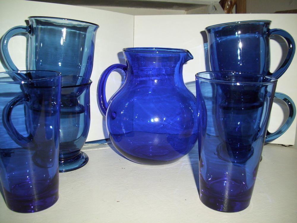 SET OF 7 PCS. COBALT BLUE GLASS - ANCHOR HOCKING, FOOTED MUGS, TUMBLERS, PITCHER #AnchorHocking
