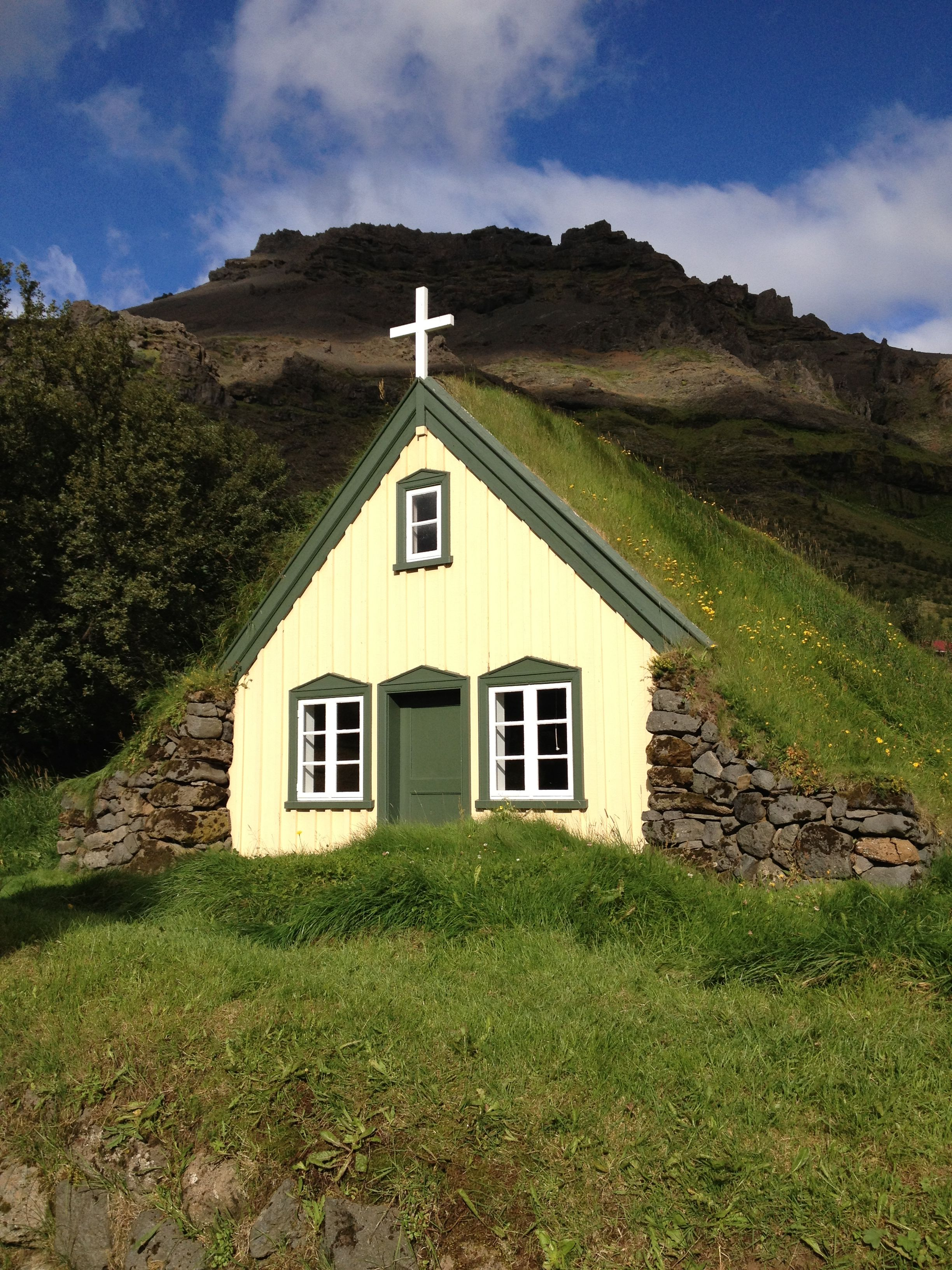 A typical Icelandic church in Hof