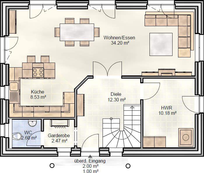 fam 130 grundriss erdgeschoss d m pinterest erdgeschoss grundrisse und h uschen grundrisse. Black Bedroom Furniture Sets. Home Design Ideas