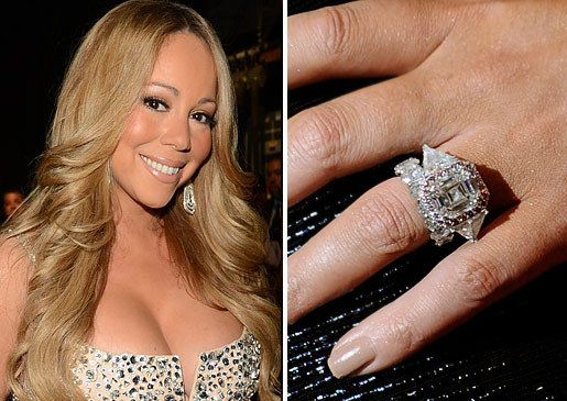 songstress mariah carey has a completely unique emerald cut pink diamond the rock is set with 58 round diamonds framing it and 2 trillion cut side stones - Mariah Carey Wedding Ring