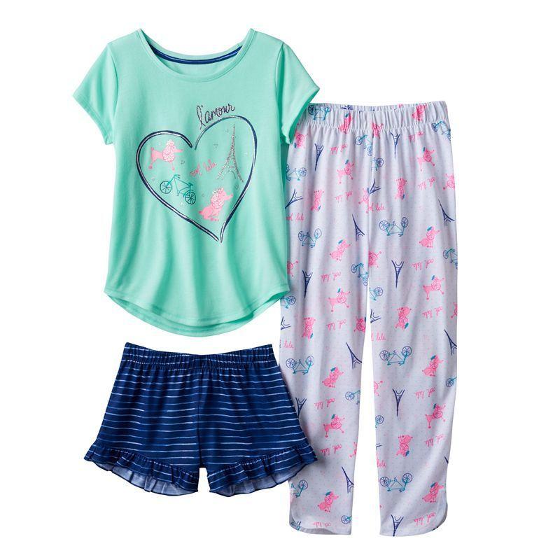 Girls to Teen Blue Aqua Zebra Pajama PJ lounge set top and