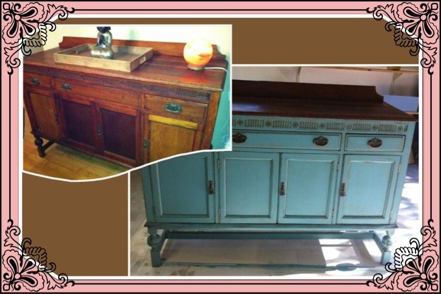 distressed aqua sideboard furniture before and after furniture rh pinterest com