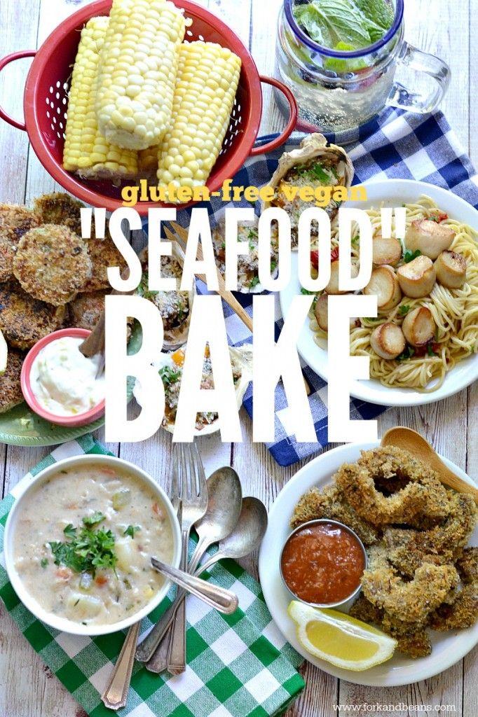 King Oyster Mushroom Scallops Fork And Beans Recipe Vegan Clam Chowder Seafood Bake Vegan Main Dishes