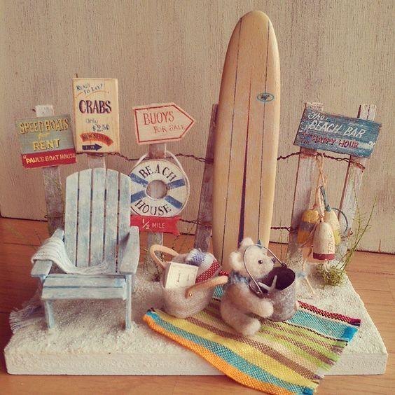 Miniature Dollhouse FAIRY GARDEN ~ Cream Resin BEACH Surfboard SEA ~ NEW