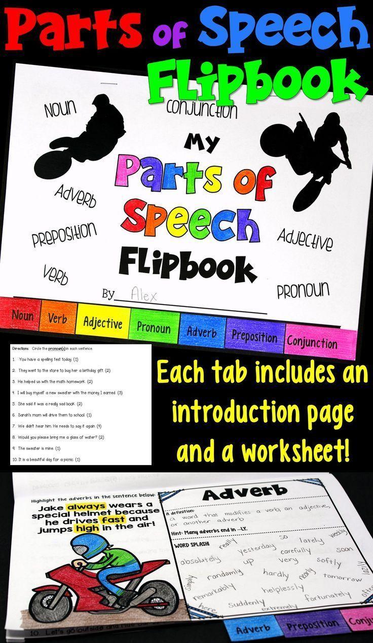 Parts of Speech Flipbook Includes a Practice Worksheet