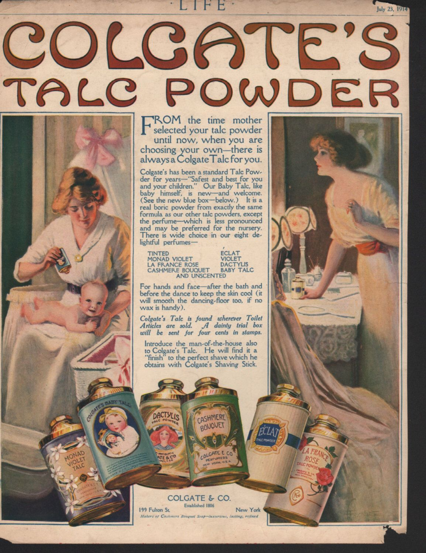 Original advertisement for Colgate's Talc Powder, Dactylis, Cashmere Bouquet, violet - beauty191 by PaperDhamma on Etsy https://www.etsy.com/listing/199427800/original-advertisement-for-colgates-talc