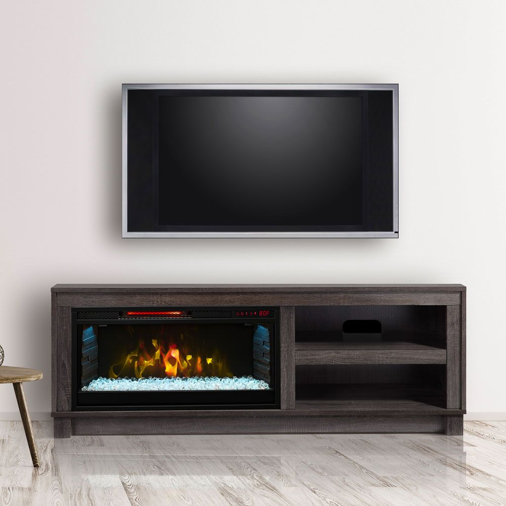 Cameron Electric Fireplace Tv Stand In Grey Cs Gry