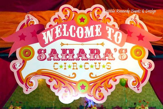 Circus Birthday Party Printable Backdrop Sign