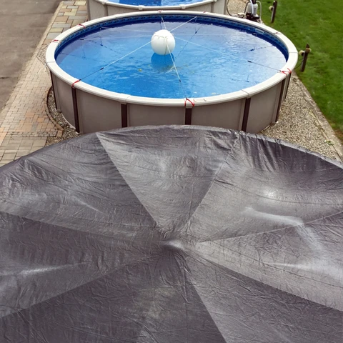 Above Ground Pool Winter Cover Support System Pooltree System Llc In 2020 Winter Pool Covers Above Ground Pool In Ground Pools