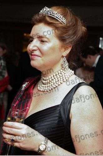 Lady Caroline Frances Primrose, daughter of 7th Earl of Rosebery, wearing a dielicate diamond and button pearl tiara, at the Royal Caledonian Ball, April 2012. Image courtesy of Dafydd Jones.