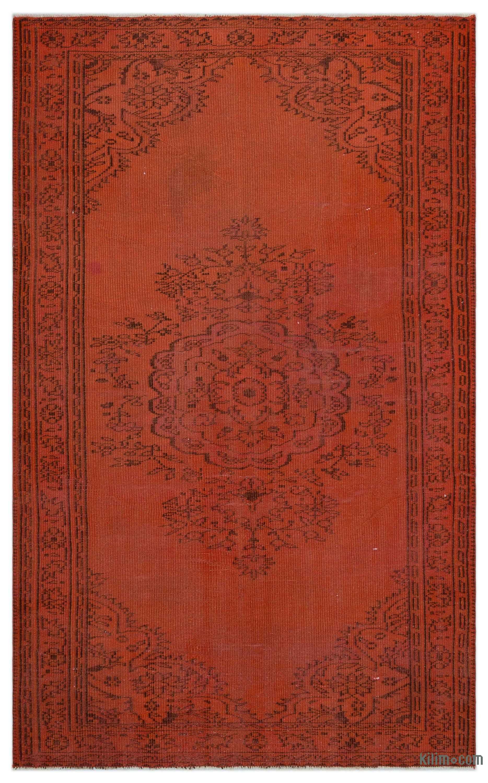 Orange Over Dyed Turkish Vintage Rug 5 1 X 8 5 156 Cm X 256 Cm Vintage Rugs Rugs Vintage