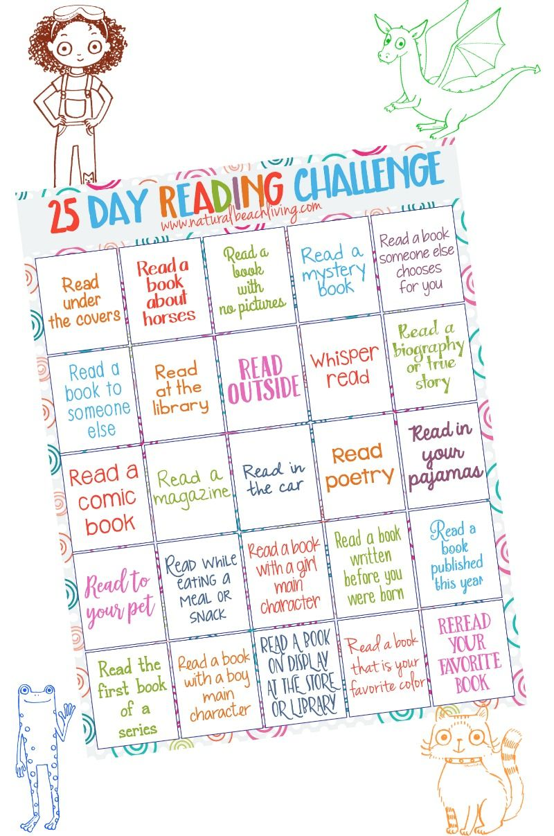25 Day Reading Challenge for Kids Reading challenge Kid kid and