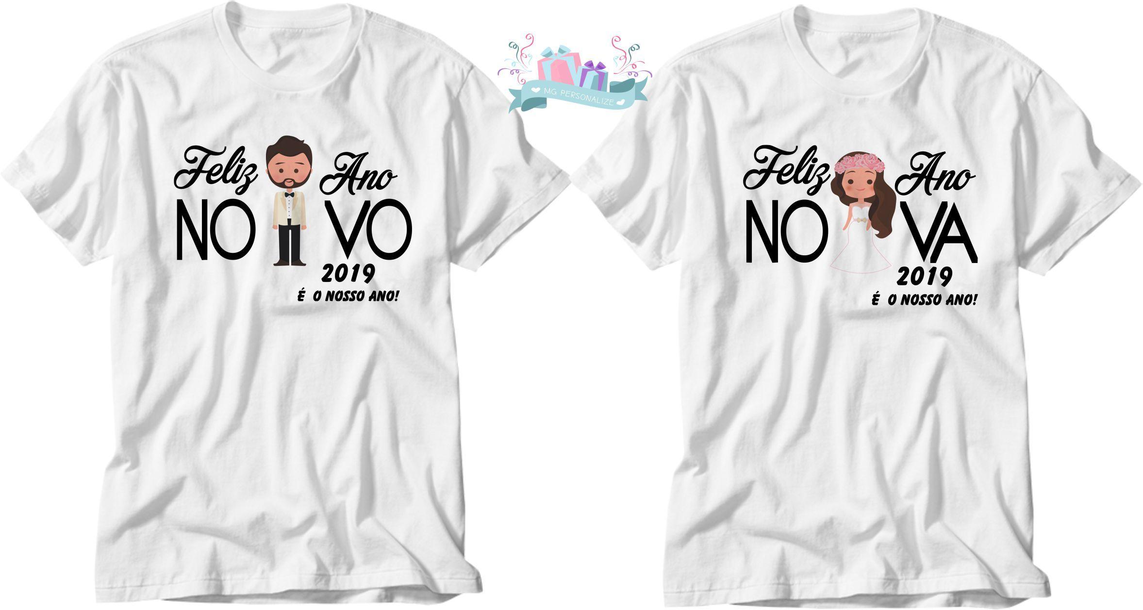 lindo kit de camisetas personalizado para o reveillon Camiseta Branca  medidas da estampa (tamanho de 19c207bd1c089