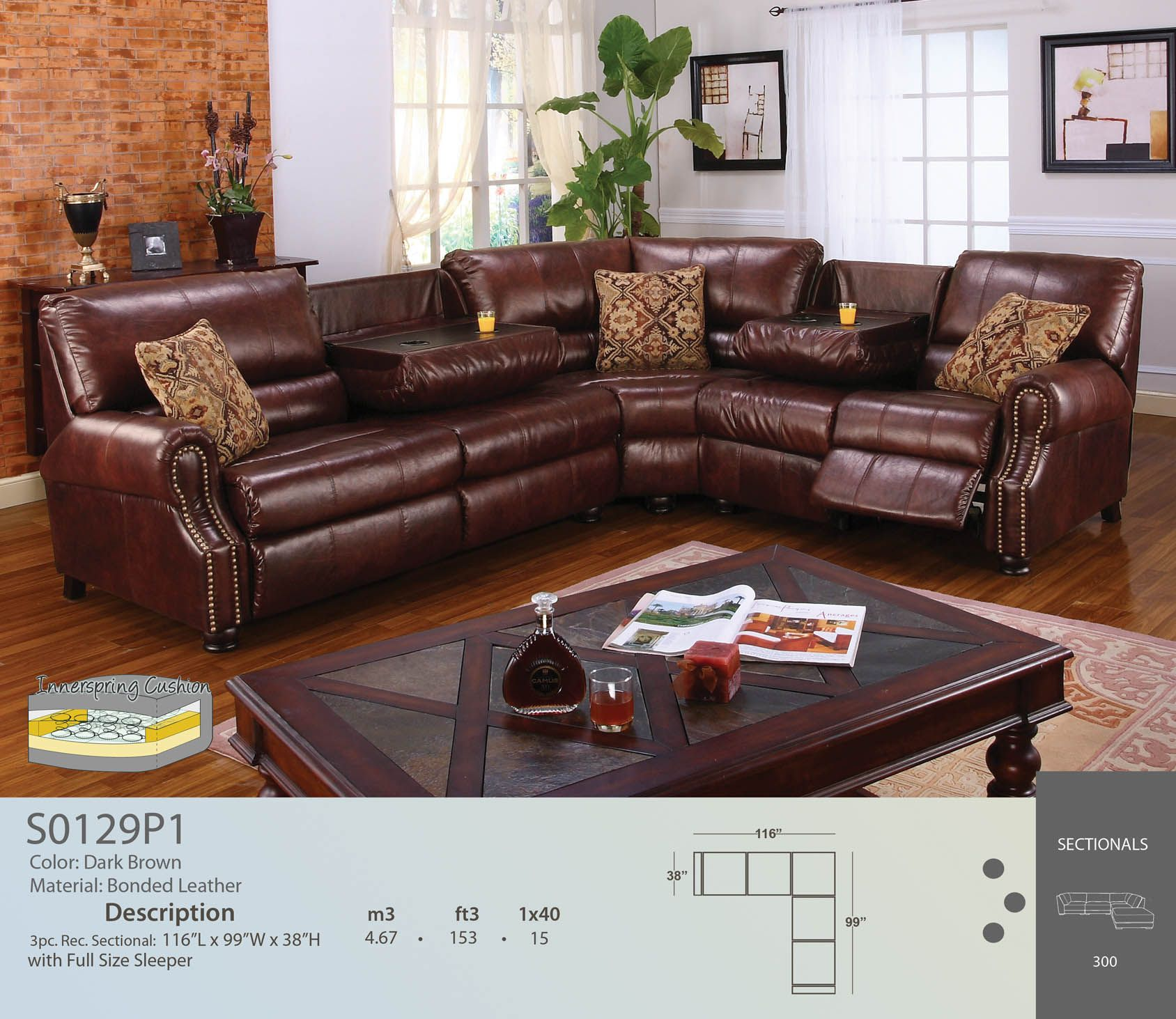 Sleeper Sectional W Drop Down Tables Leather Reclining Sectional Sofa Reclining Sectional