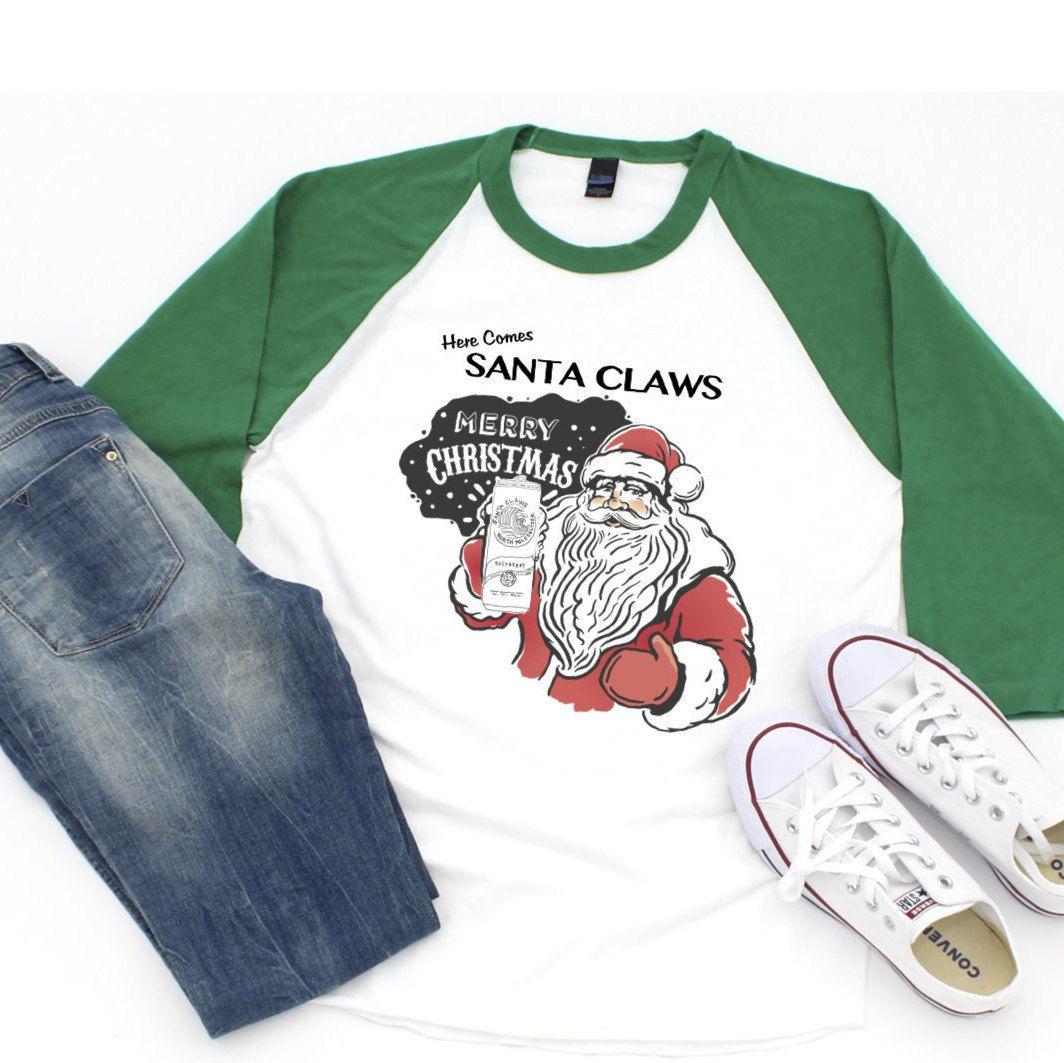 Santa Claws Funny Christmas Shirt T Shirt Tee 3 4 Sleeve Raglan Shirt White Claw Funny Christmas Shirts Christmas Shirts Raglan Shirts [ 1063 x 1064 Pixel ]