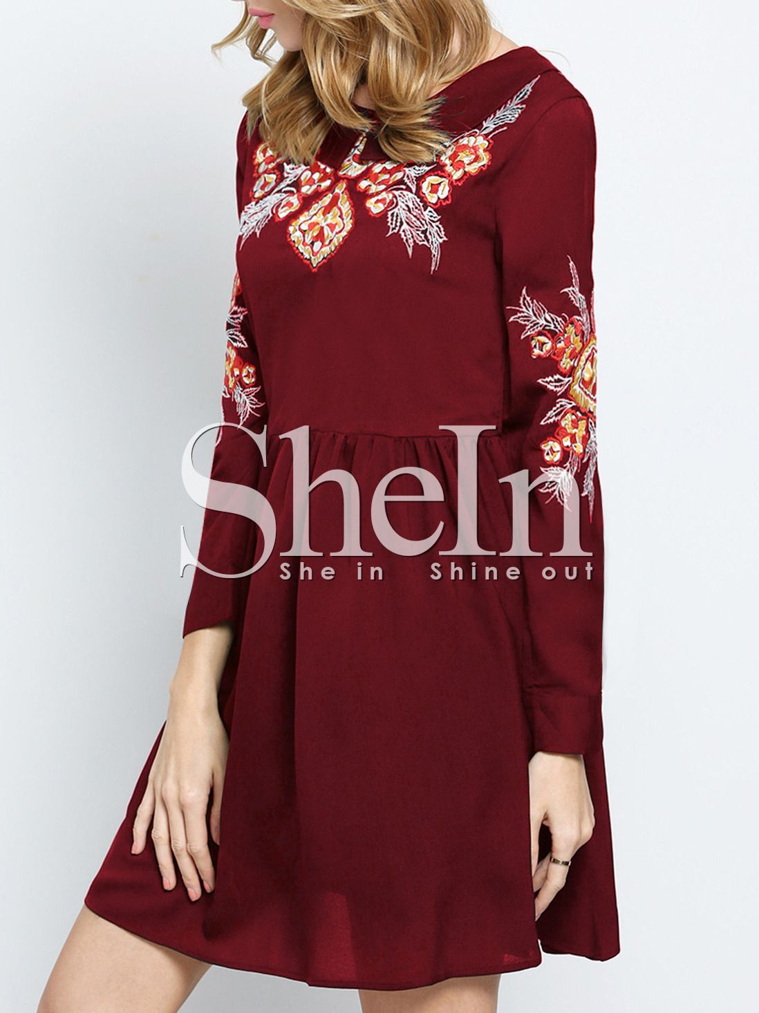 Red Crew Neck Floral Embroidered Dress Pleated Dress Dresses Embroidered Dress [ 1465 x 1098 Pixel ]