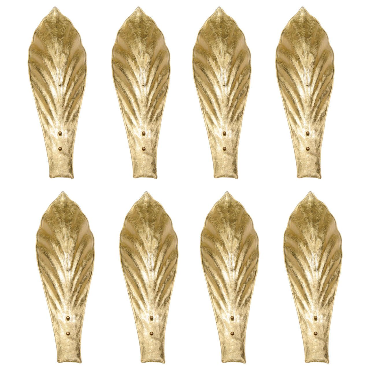 Set of Eight Wall Sconces in Gold Murano Glass | Murano glass, Wall ...