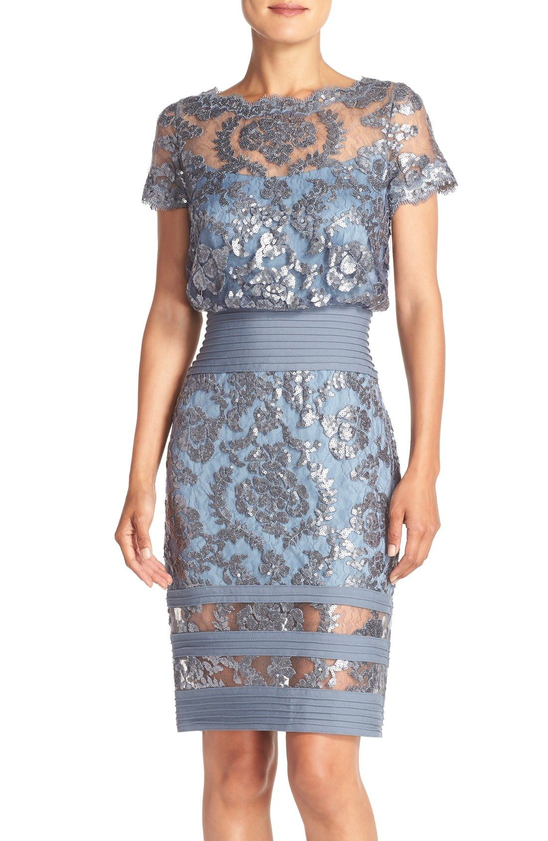 Tadashi Shoji Sequin Embroidered Blouson Dress Regular