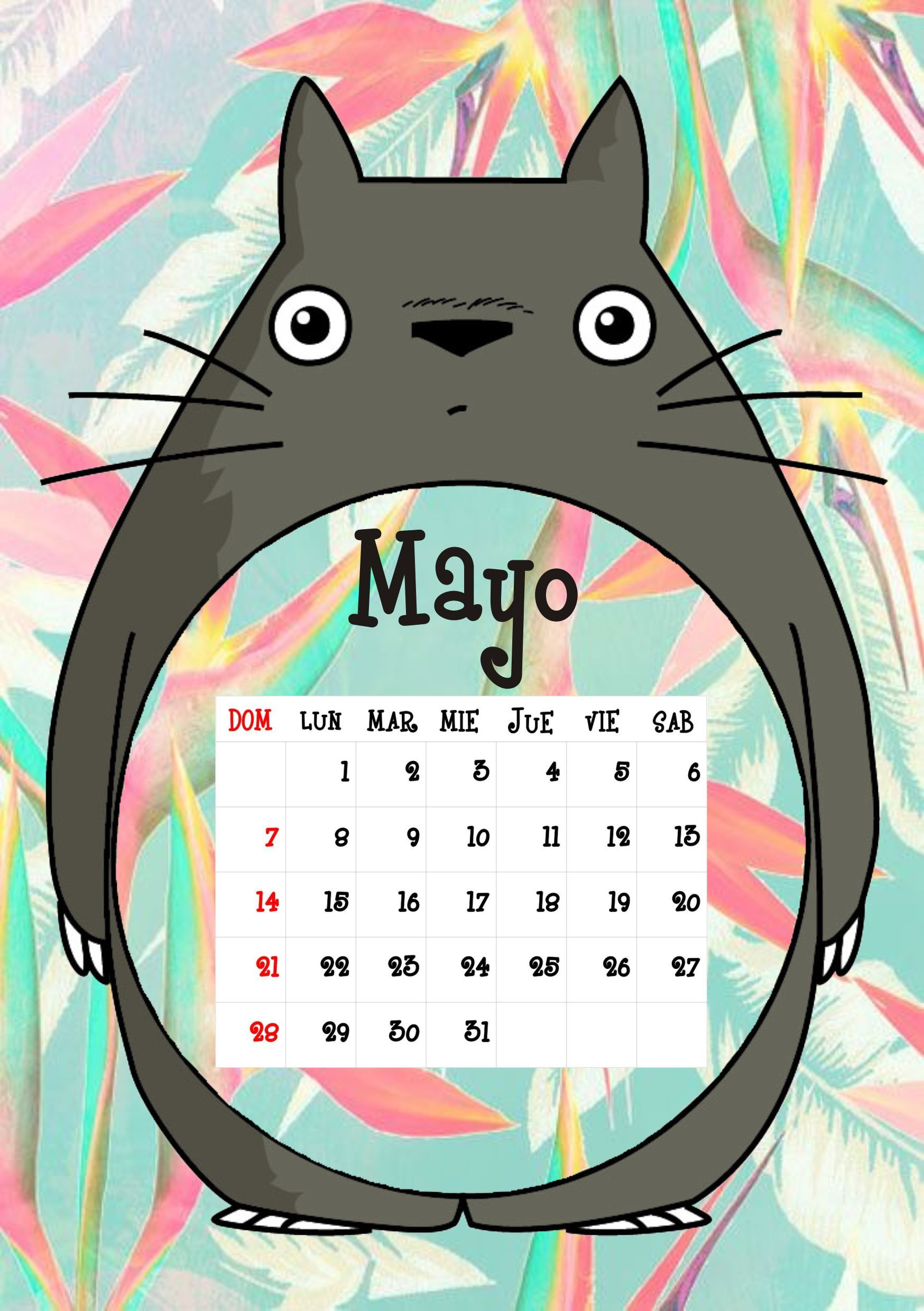 Calendario Mes Mayo 2017 Calendario Totoro 2017 Mayo Calendarios Pinterest