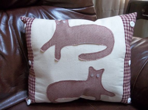 Country Cat Primitive Pillow by TheCountryChipmunk on Etsy