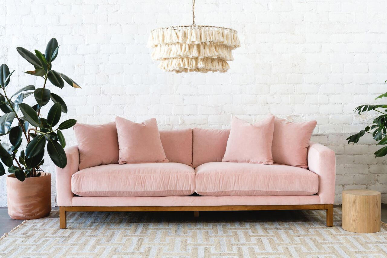 Lulu & Maxwell Velvet Sofa, Pink Home decor
