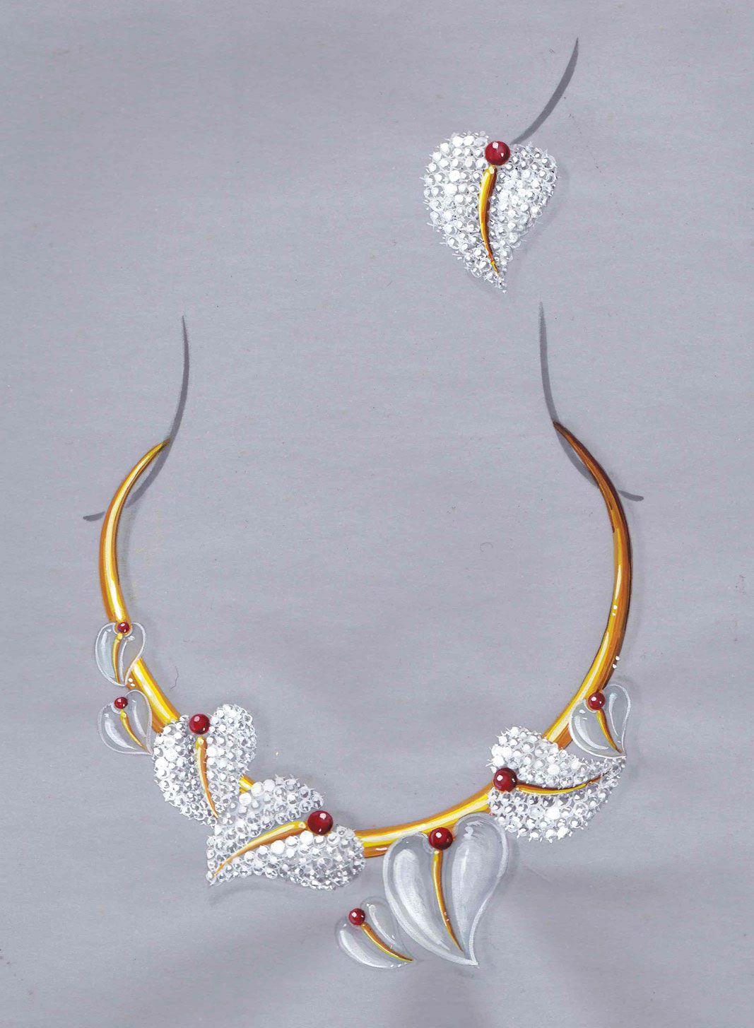 Dessin gouaché joaillerie : diamant, cristal de roche, rubis, monture or