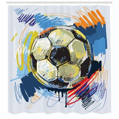 East Urban Home Soccer Shower Curtain Set Hooks Soccer Art