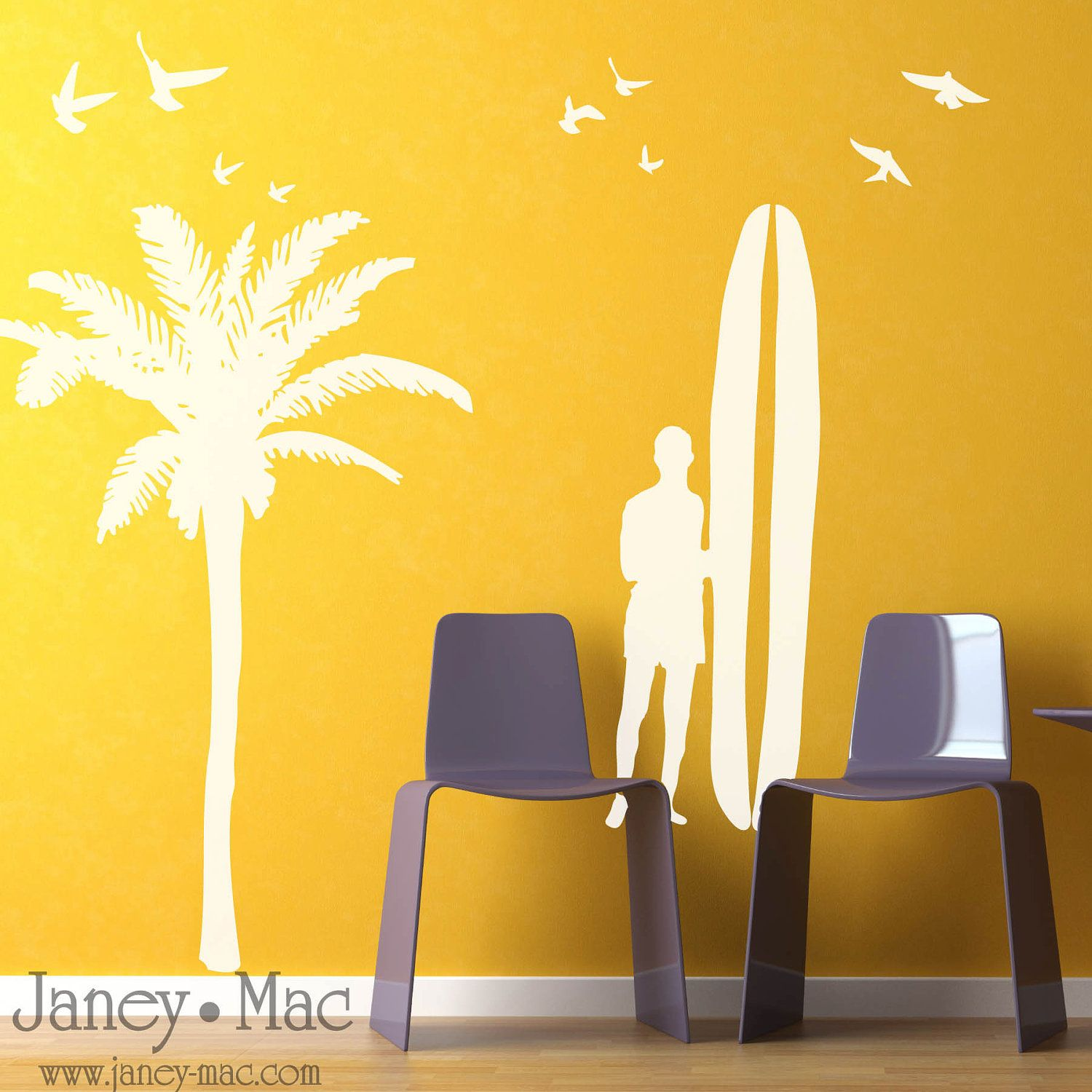 Surfer Wall Decal - Palm Tree with Birds and Surfer Wall Decal Set ...