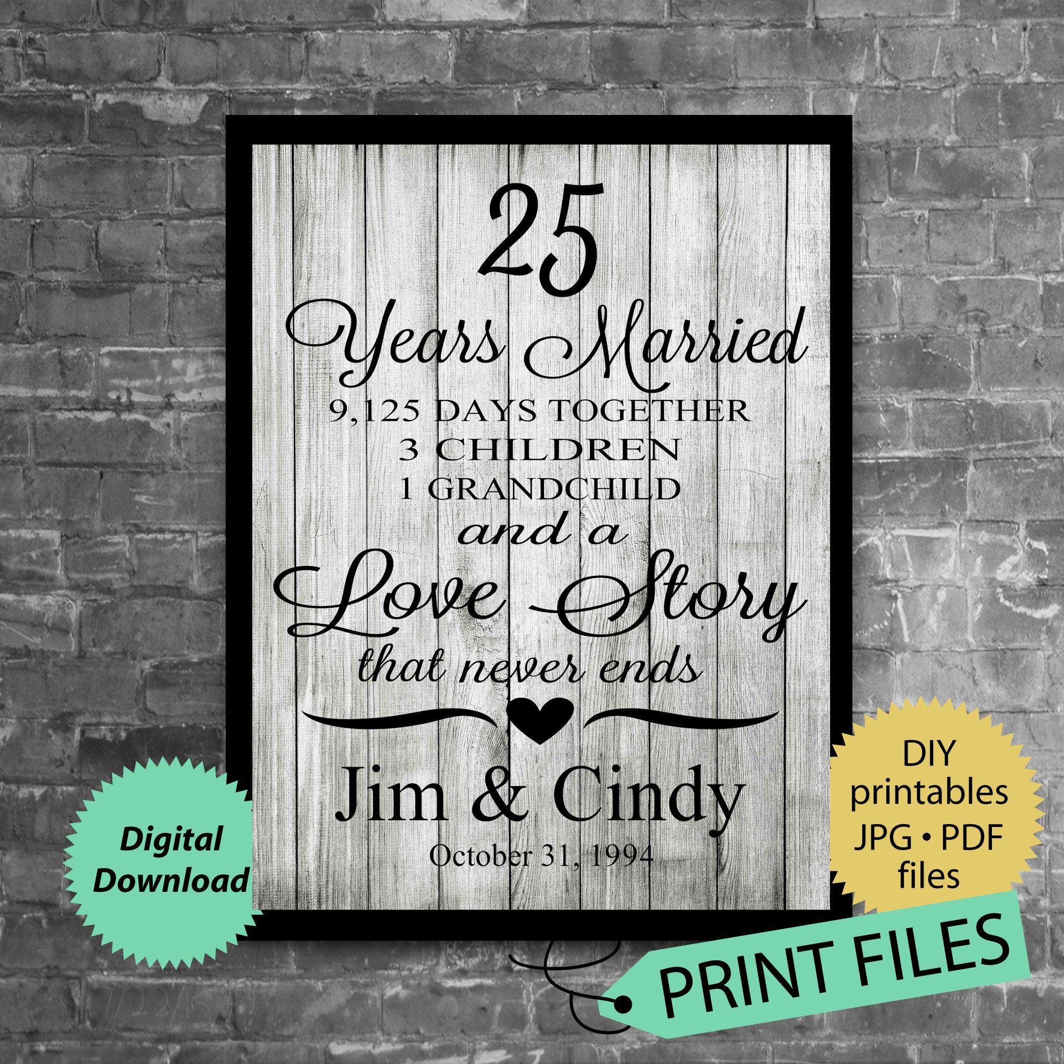25th anniversary gift anniversary gift for husband and