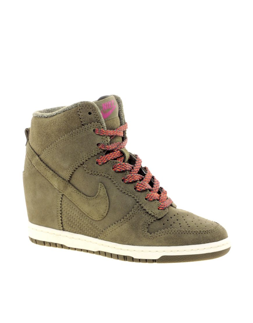 Shop Nike Dunk Sky High Olive Wedge Trainers at ASOS.