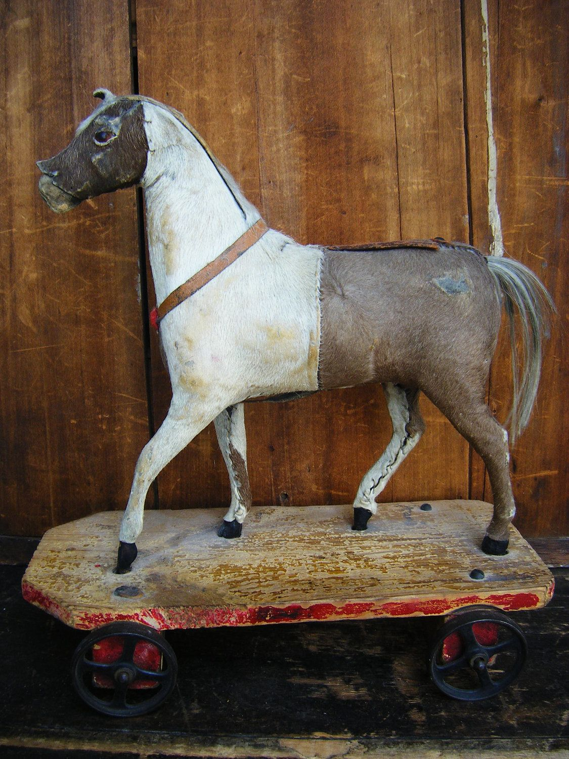 Antique 1800's Horse Pull Toy, Glass Eyes, Hide and Wood