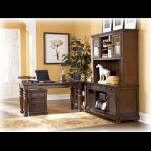 Office Furniture Ashley Furniture, Porter Desk And Tall Credenza