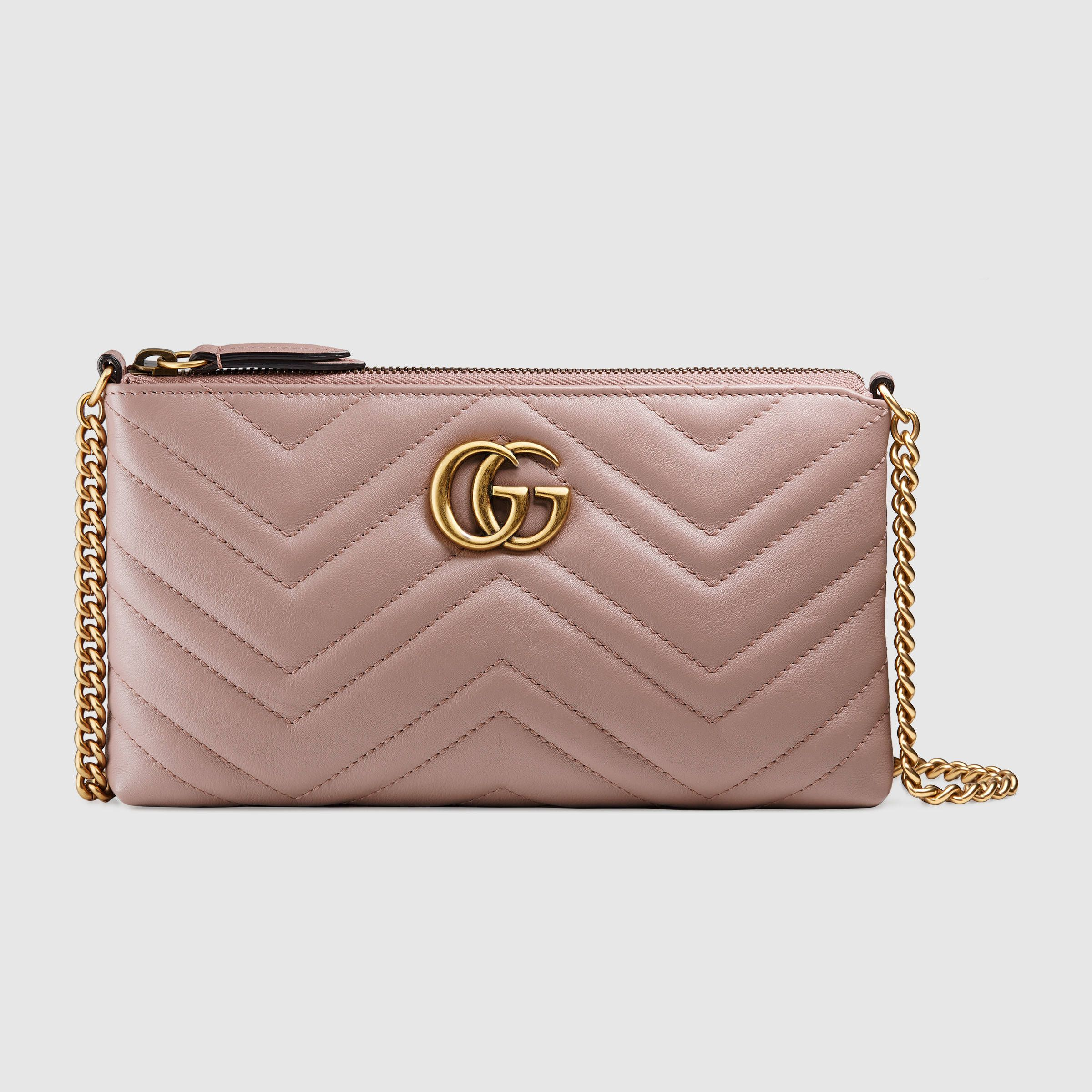 1a988800084 Gucci Zip-Around Wallet. GG Marmont mini chain bag C  950 nude matelassé  leather