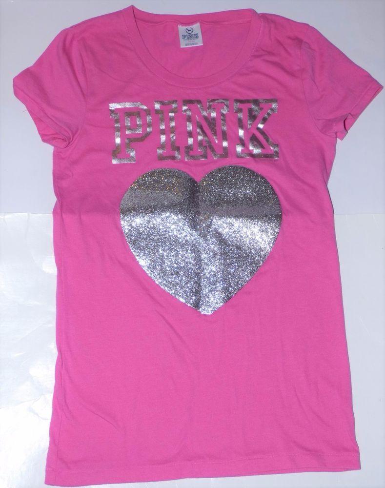 653f4f91e59ce Victoria's Secret Pink Silver Glitter Heart Short Sleeve T-Shirt Top ...
