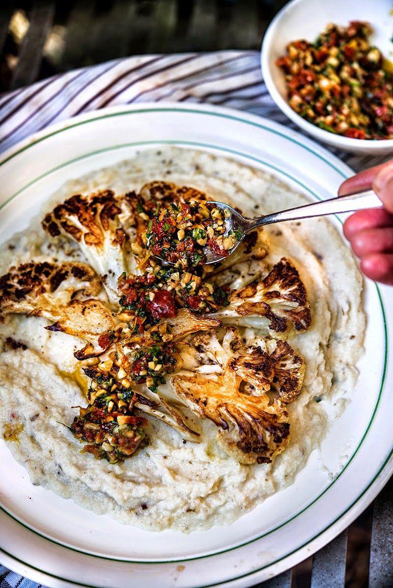 Cauliflower Steaks with Hazelnut Gremolata & Cauliflower Puree