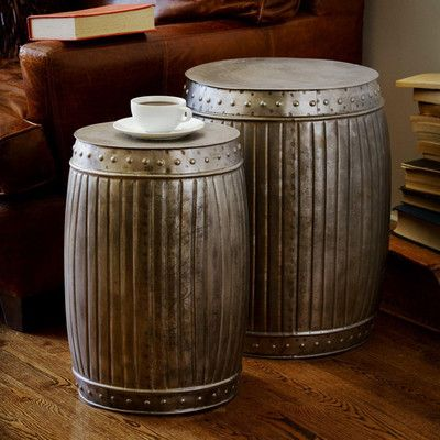 Rustic Distressed Metal Accent End Side Barrel Shape Table Stool Set 2 New  | EBay