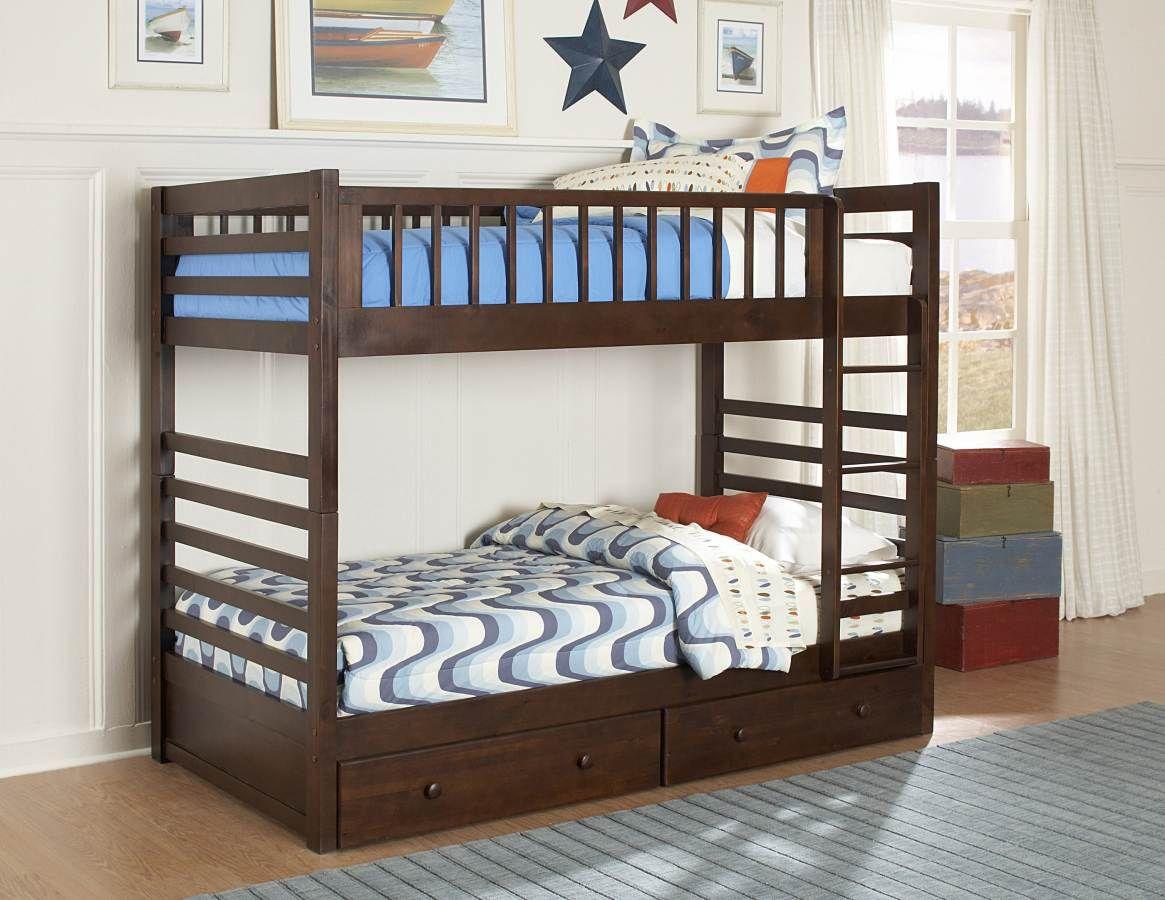Dreamland Rich Cherry Twin/Twin Bunk Bed W/Storage (With
